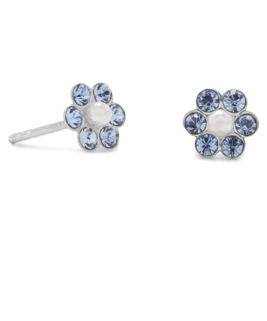 Light Blue Crystal and Imitation Pearl Sterling Silver Flower Post Stud Earrings