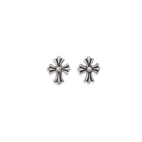 Small Cross Post Stud Earrings with Antique Finish Fleur-de-lis Design
