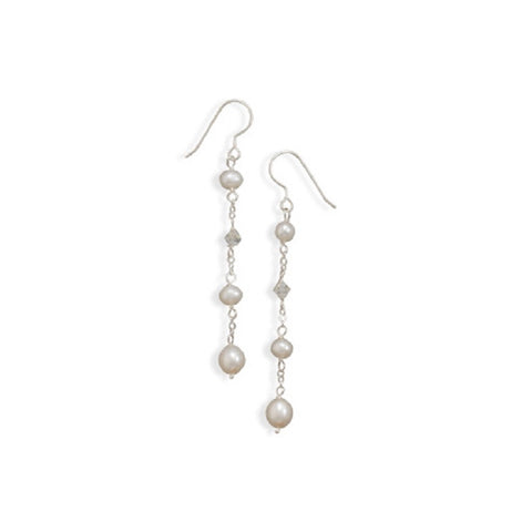 White Cultured Freshwater Pearl and Crystal Chain Earrings Sterling Silver
