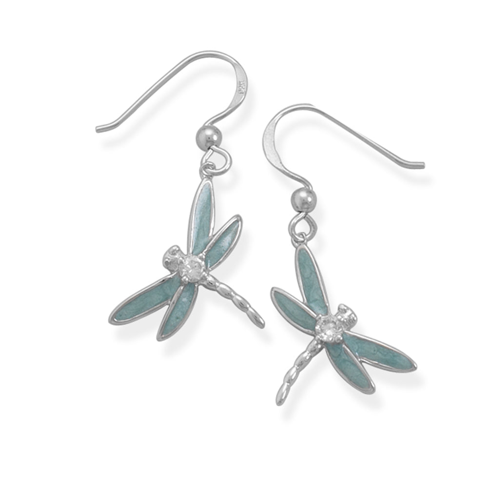 Dragonfly Earrings with Cubic Zirconia Accents Sterling Silver