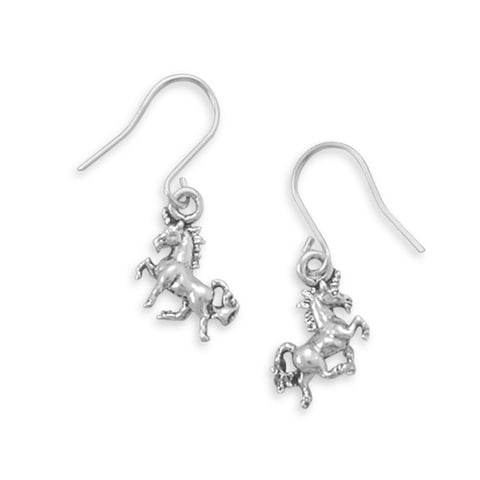 Prancing Unicorn Charm Dangle Earrings Sterling Silver, Made in the USA