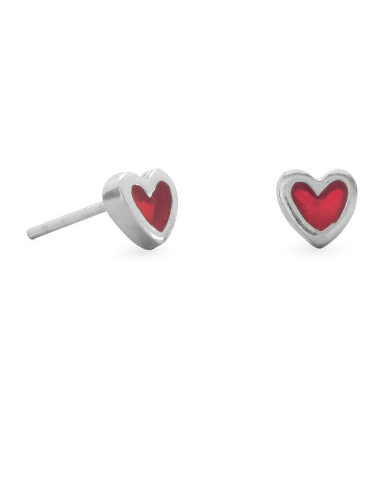 Small Red Heart Post Stud Earrings Sterling Silver
