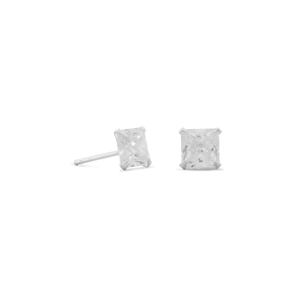 Princess Square Cubic Zirconia Post Stud Earrings 6mm Sterling Silver