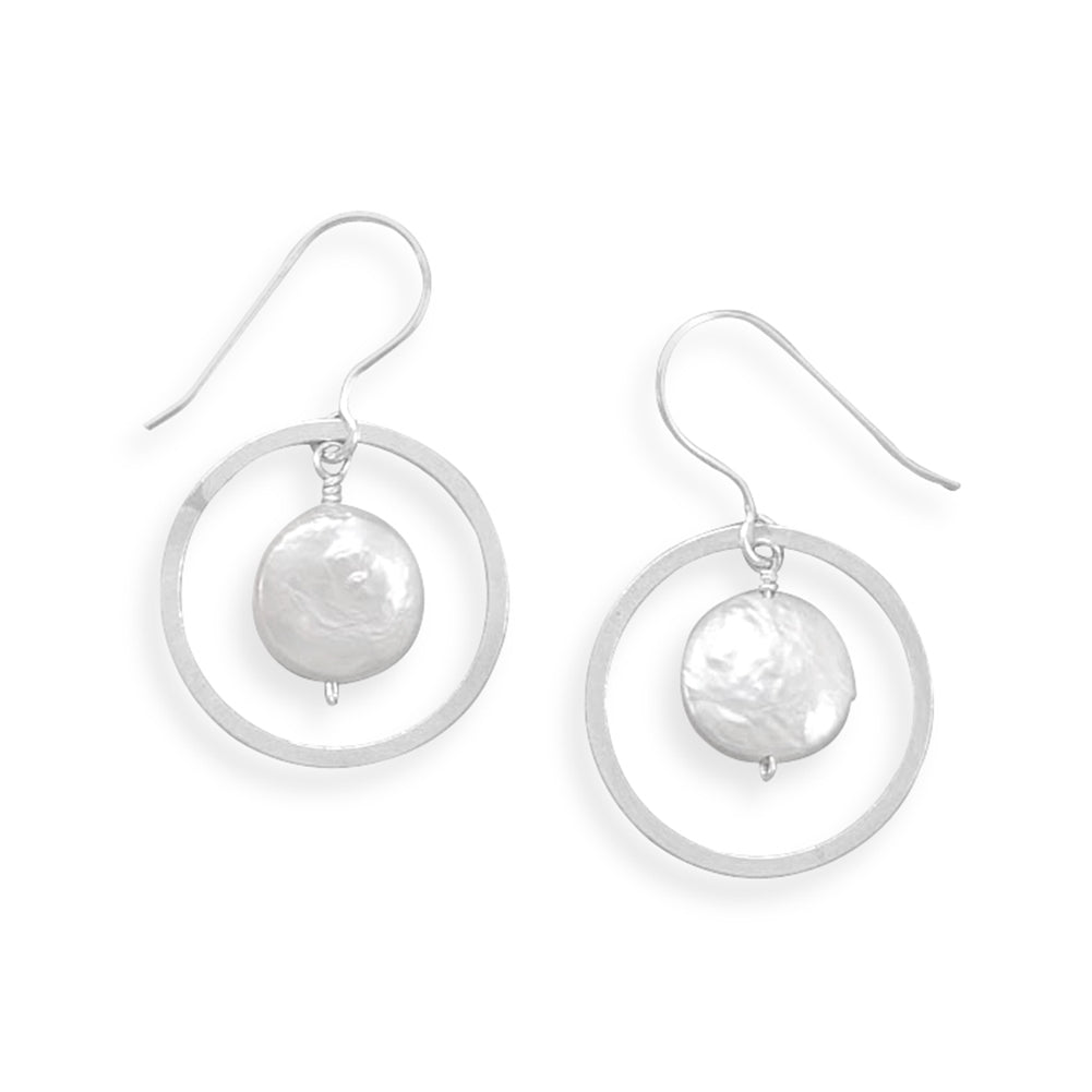 White Freshwater Cultured Coin Pearl with Round Hoop Earrings Sterling Silver