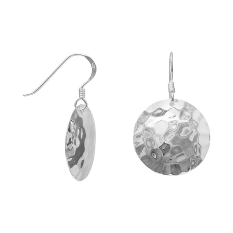 Round Hammered Sterling Silver Dangle Earrings