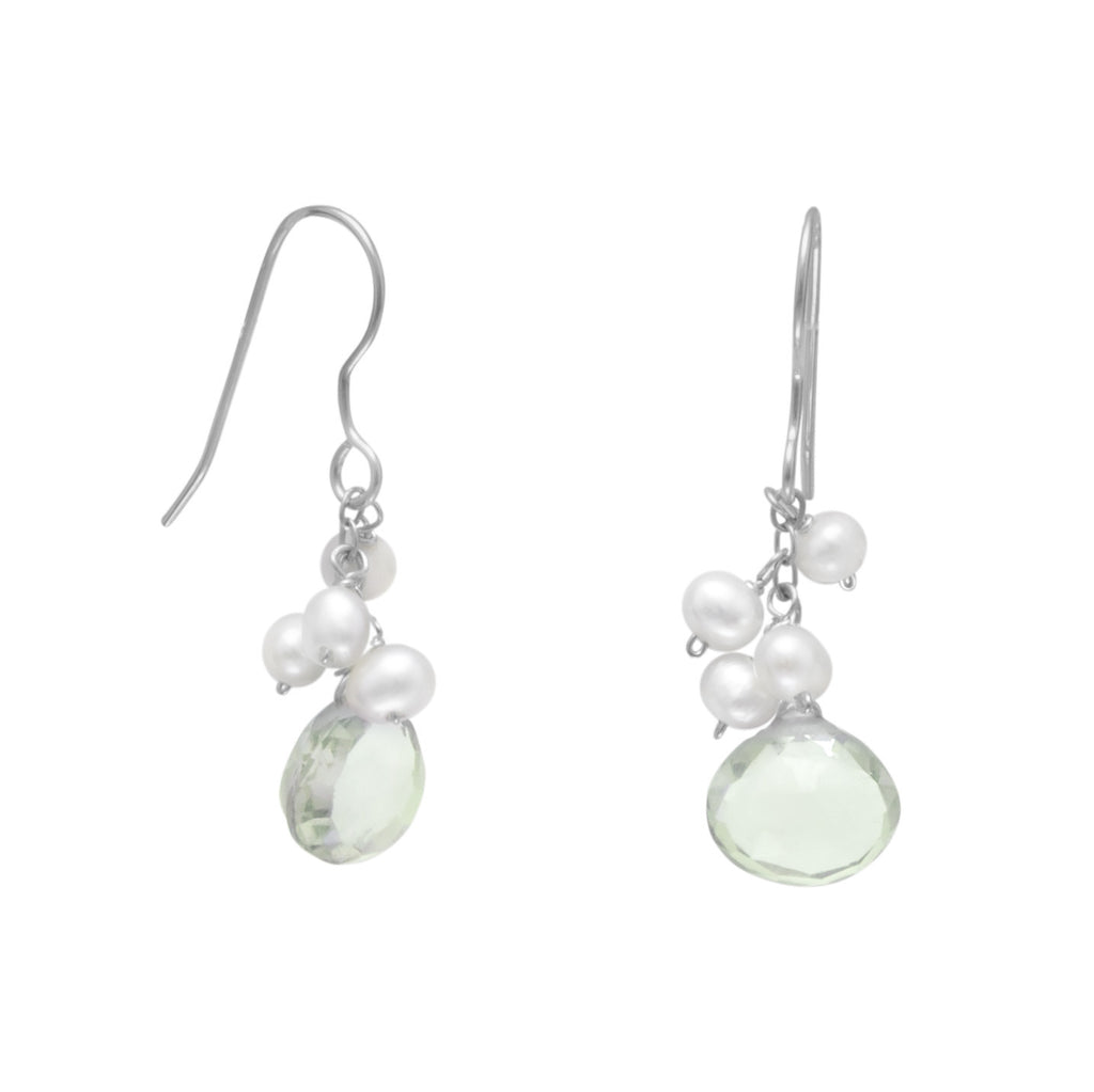 Earrings with White Cultured Freshwater Pearl Cluster Sterling Silver