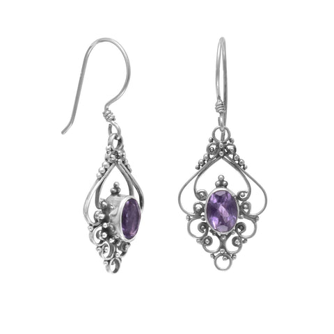 Amethyst Antique Filigree Earrings with Scroll Design Sterling Silver