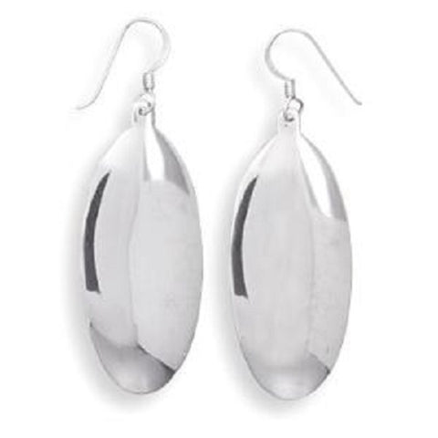 Oval Highly Polished Dangle Earrings Sterling Silver