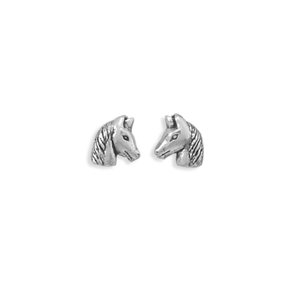 Horse Head Stud Antique Finish Sterling Silver Earrings