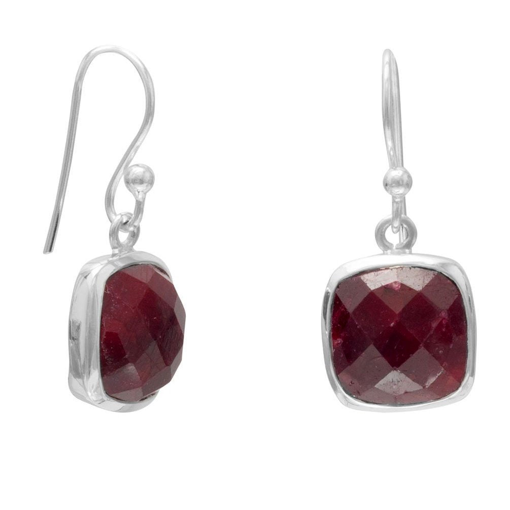 Sterling Silver and Dyed Red Corundum Square Dangle Earrings