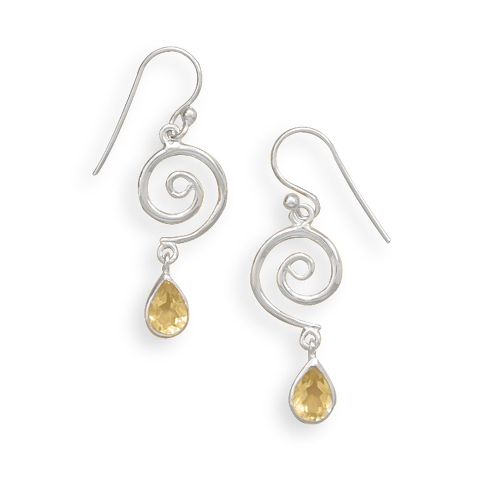 Yellow Citrine Swirl Coil Design Sterling Silver Drop Earrings