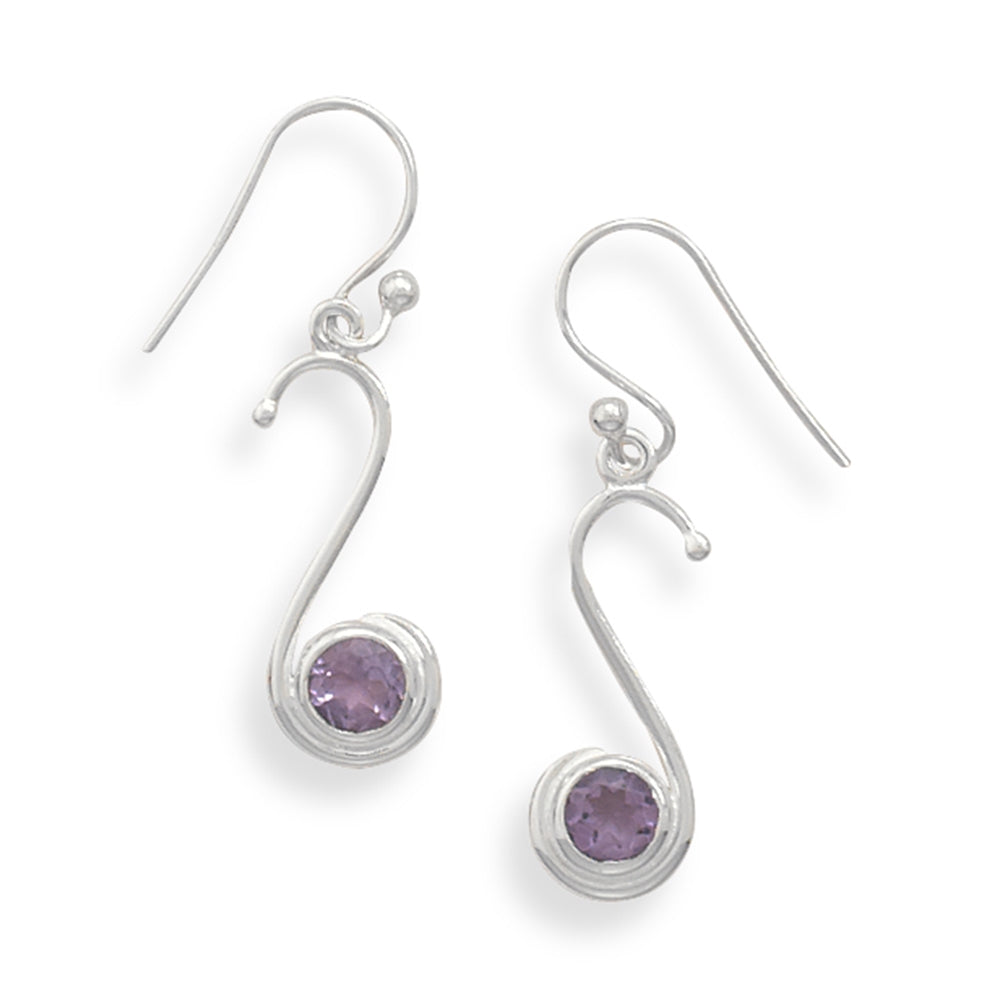 Amethyst Earrings Round with S shaped Sterling Silver