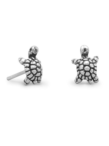 Turtle Stud Earrings Antique Finish Childrens 9mm