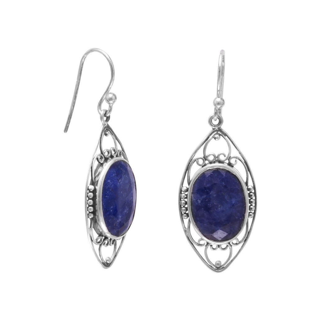 Sterling Silver Dangle Earrings with Dyed Blue Corundum