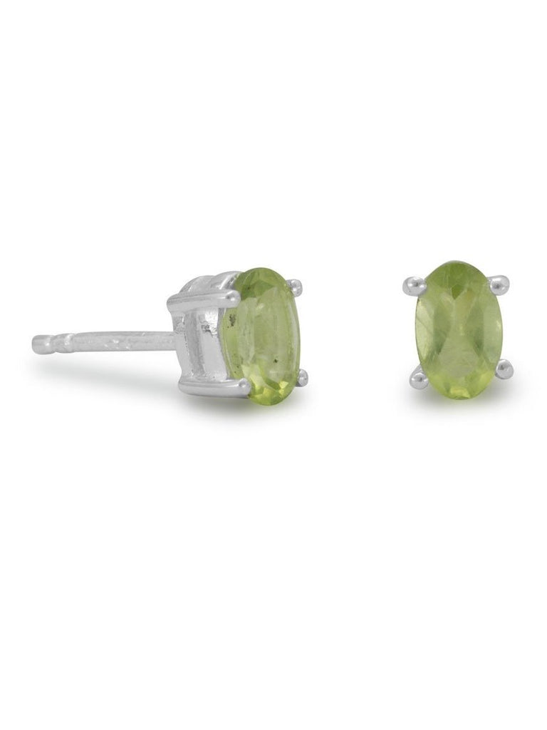 Oval Peridot Stud Post Earrings Sterling Silver
