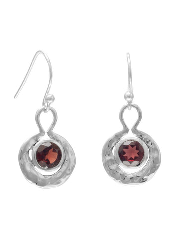 Red Round Garnet Earrings Hammered Sterling Silver