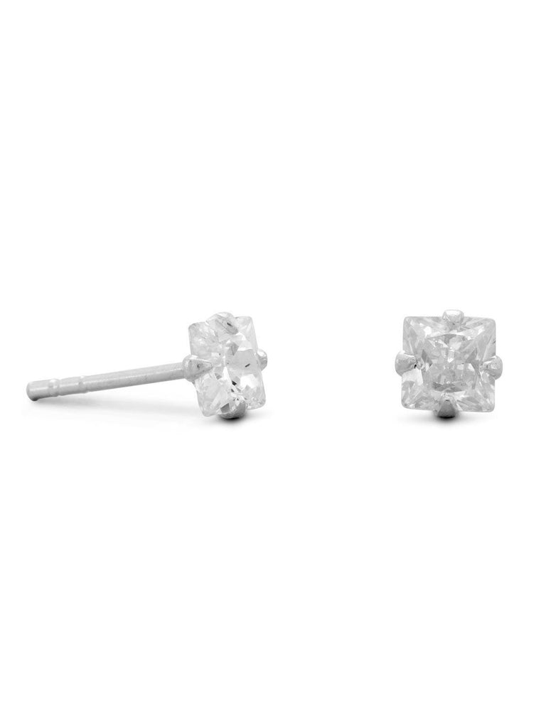 4mm Square Cubic Zirconia CZ Stud Earrings Childrens Mens Sterling Silver