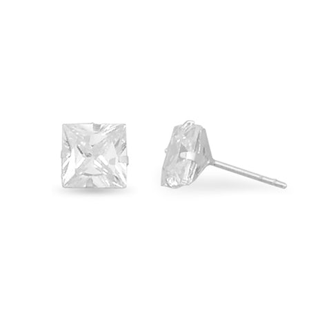 7mm Square Cubic Zirconia CZ Stud Earrings Mens Womens Teens Sterling Silver