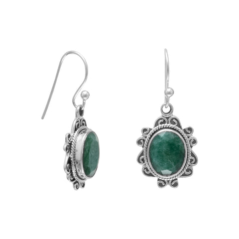 Dyed Green Beryl Earrings with Scroll and Rope Edge Sterling Silver