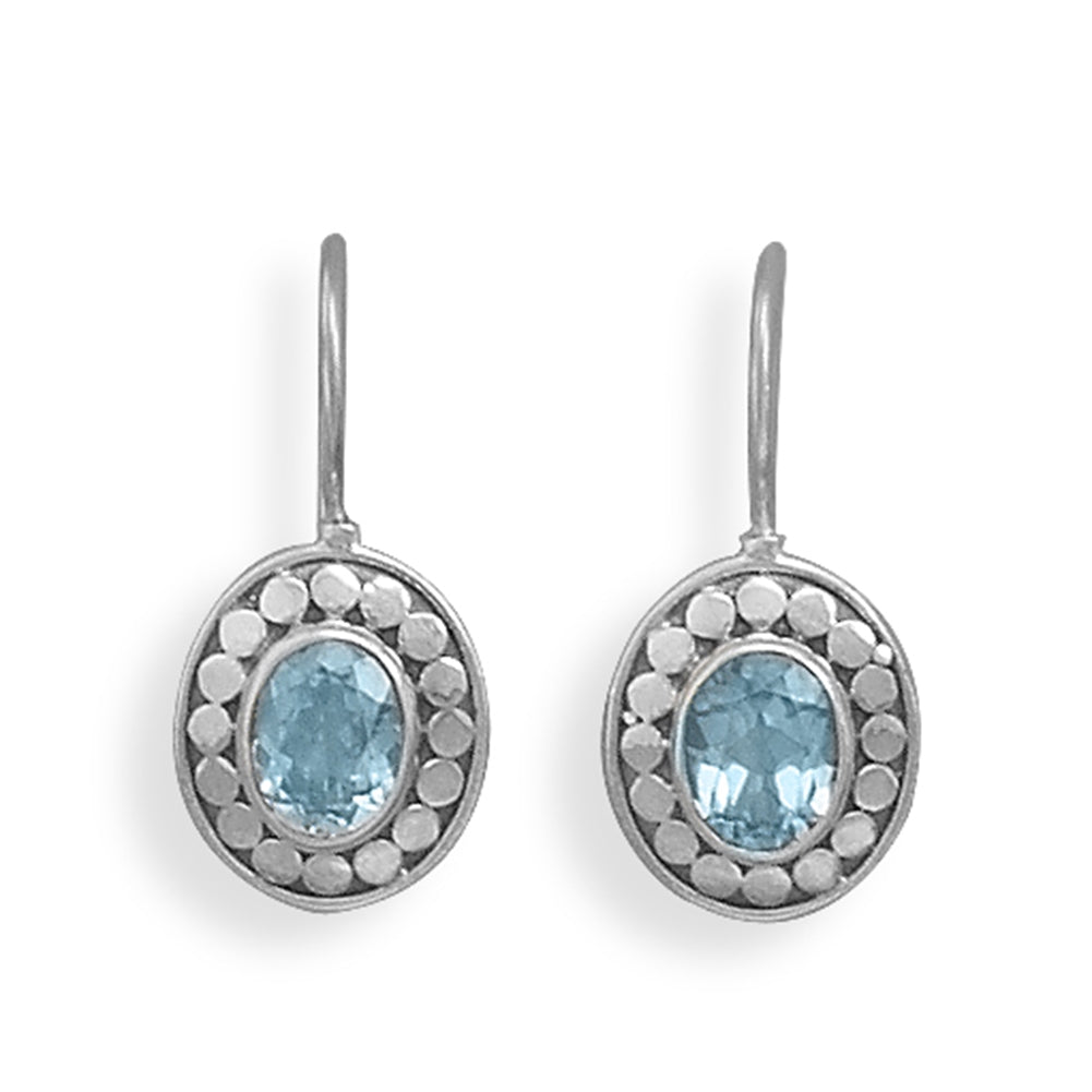 Blue Topaz Oval Dot Design Antiqued Sterling Silver Wire Earrings