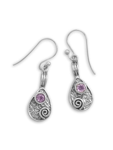 Amethyst Accent Sterling Silver Tear Drop Spiral Coil Design Earrings