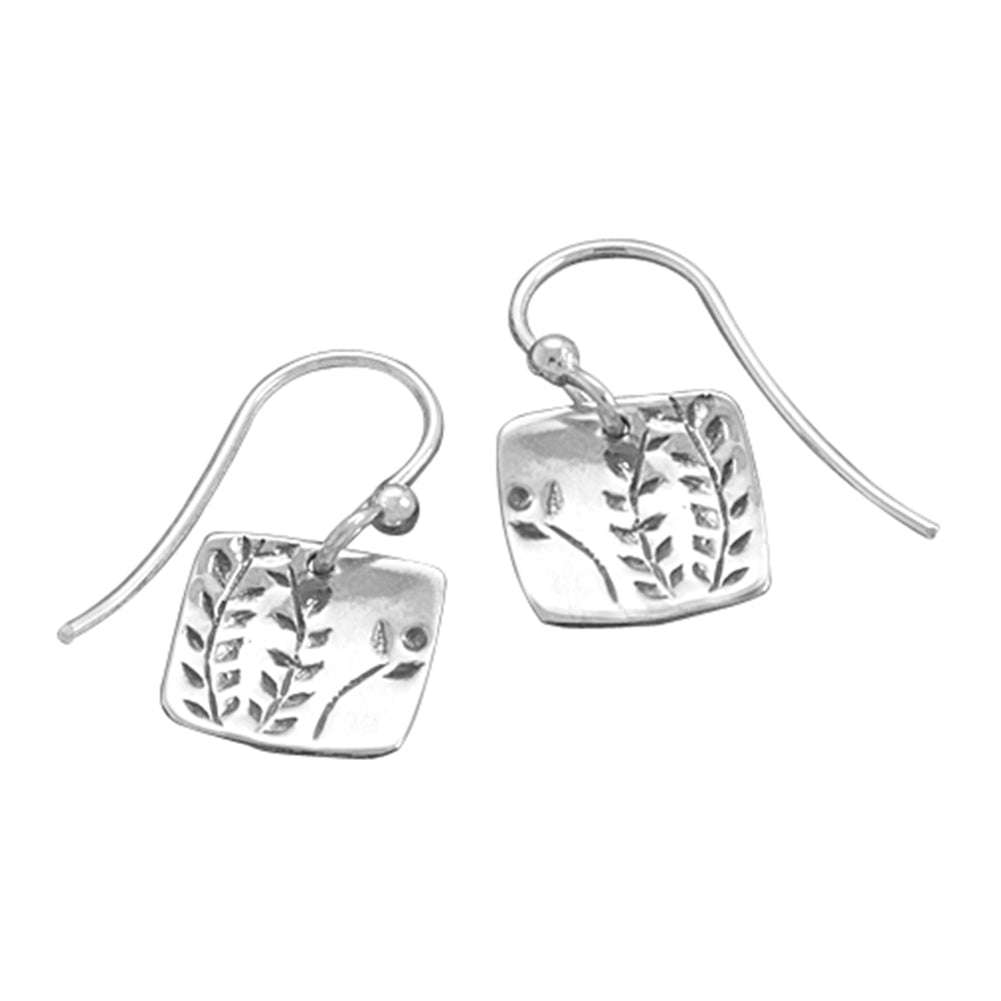 Fern Vine Design Sterling Silver Small Square Tag Dangle Earrings