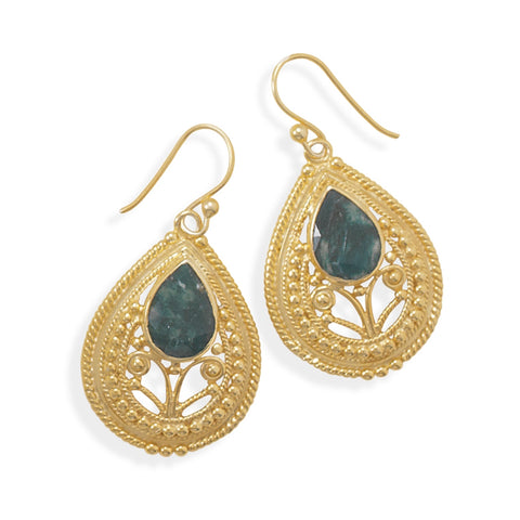 Dyed Green Beryl Gold-plated Earrings with Bead Filigree