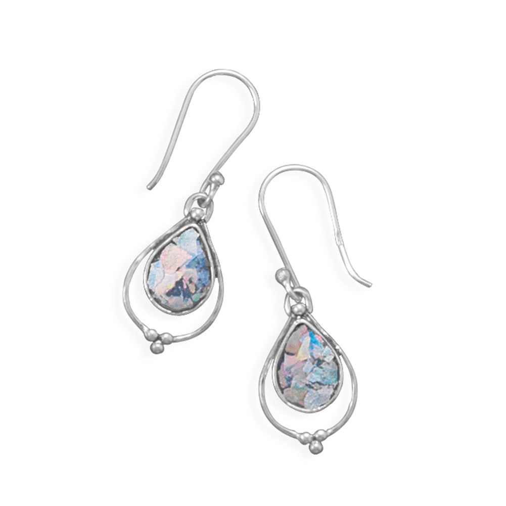 Ancient Roman Glass Earrings Dangle Small Teardrop Sterling Silver