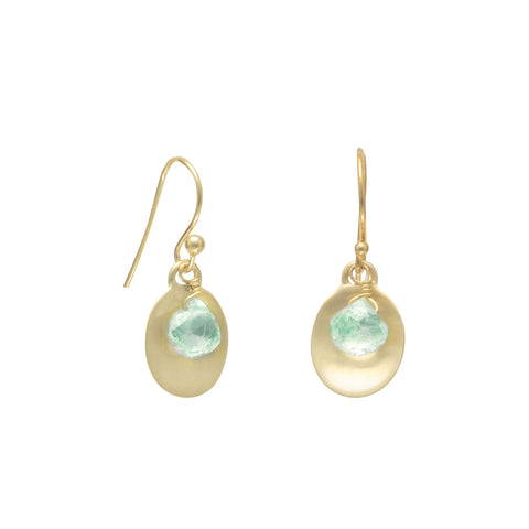 Aquamarine Earrings Gold-plated Sterling Silver March Birthstone