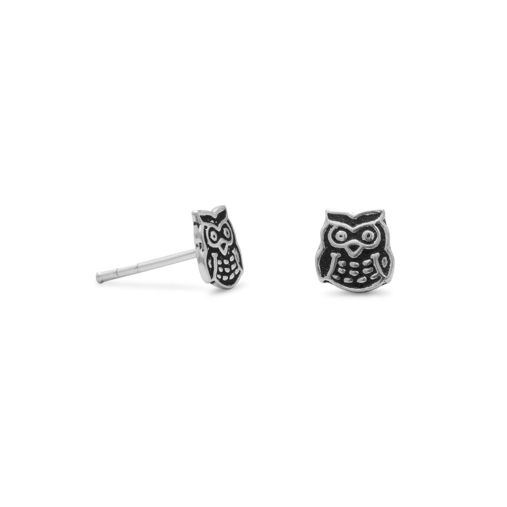 Cute Owl Earrings Post Stud 6mm Antiqued Sterling Silver
