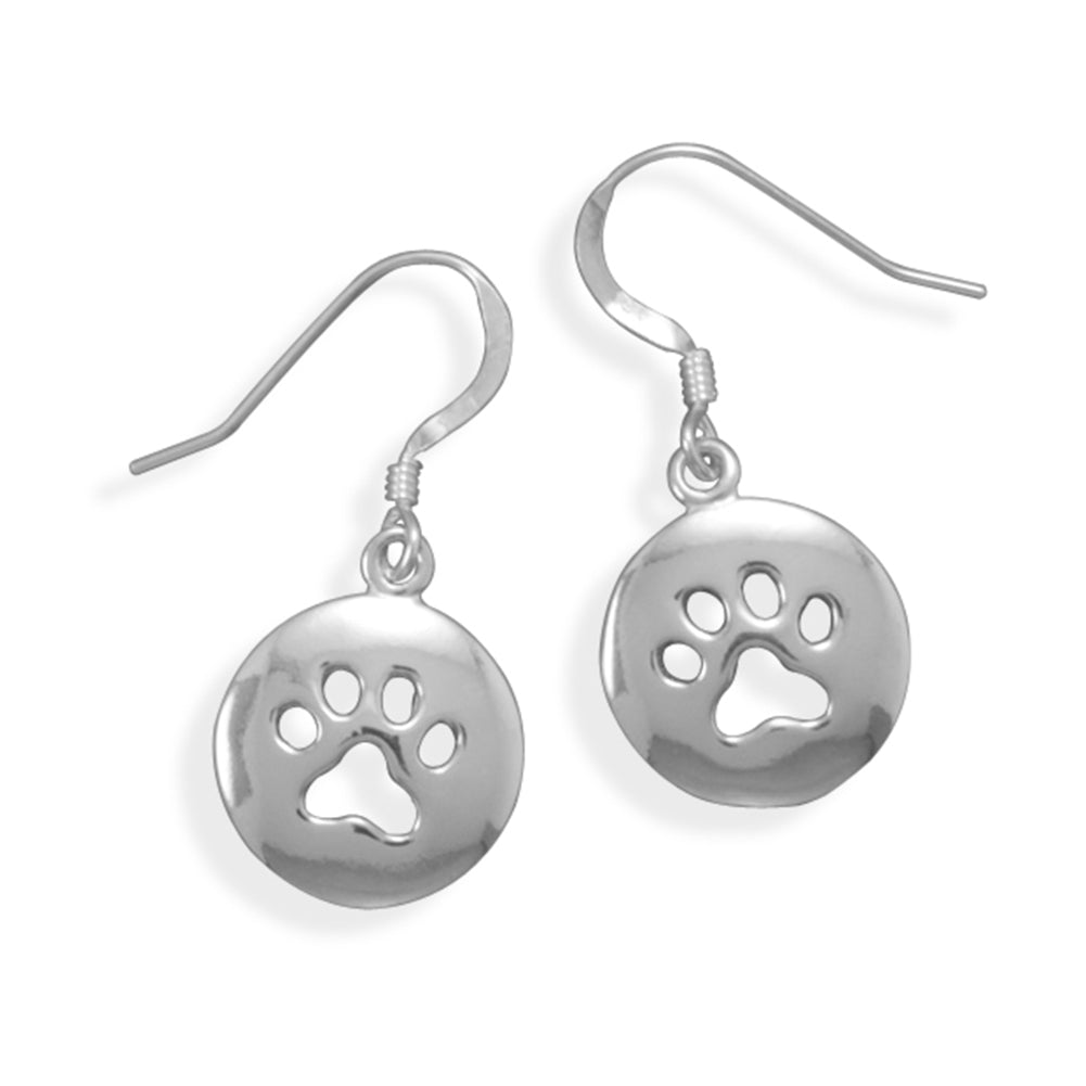 Paw Print Earrings Polished Sterling Silver Cut Out Design