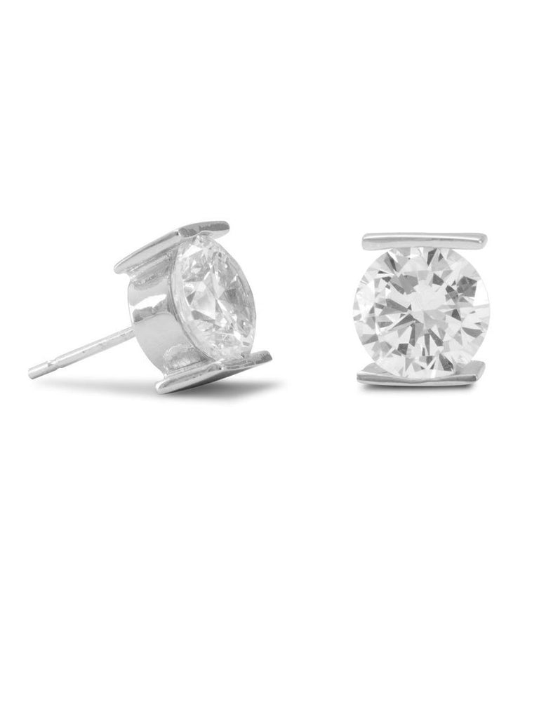 8mm Cubic Zirconia Stud Post Earrings Tension Set Sterling Silver