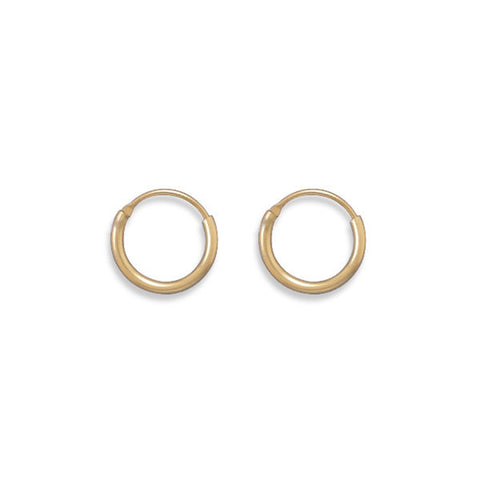 1x12mm Endless Hoops Small Hoop Earrings Yellow Gold-filled, Made in the USA