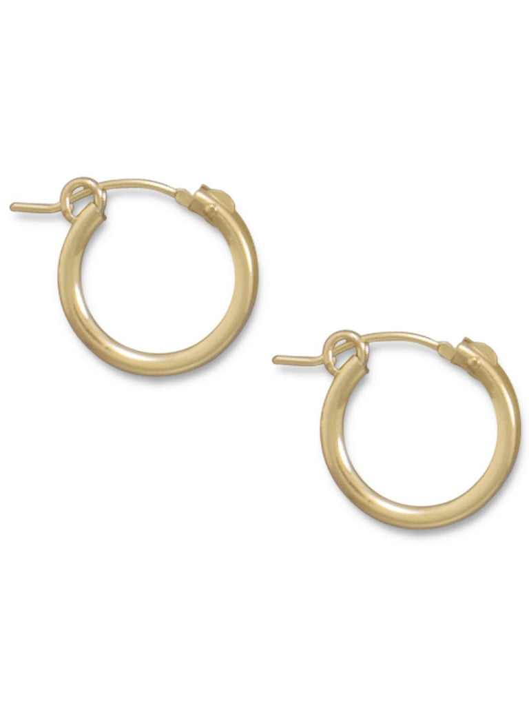 2x15mm Small Hoop Earrings 12k Yellow Gold-filled Click Close - Made in the USA