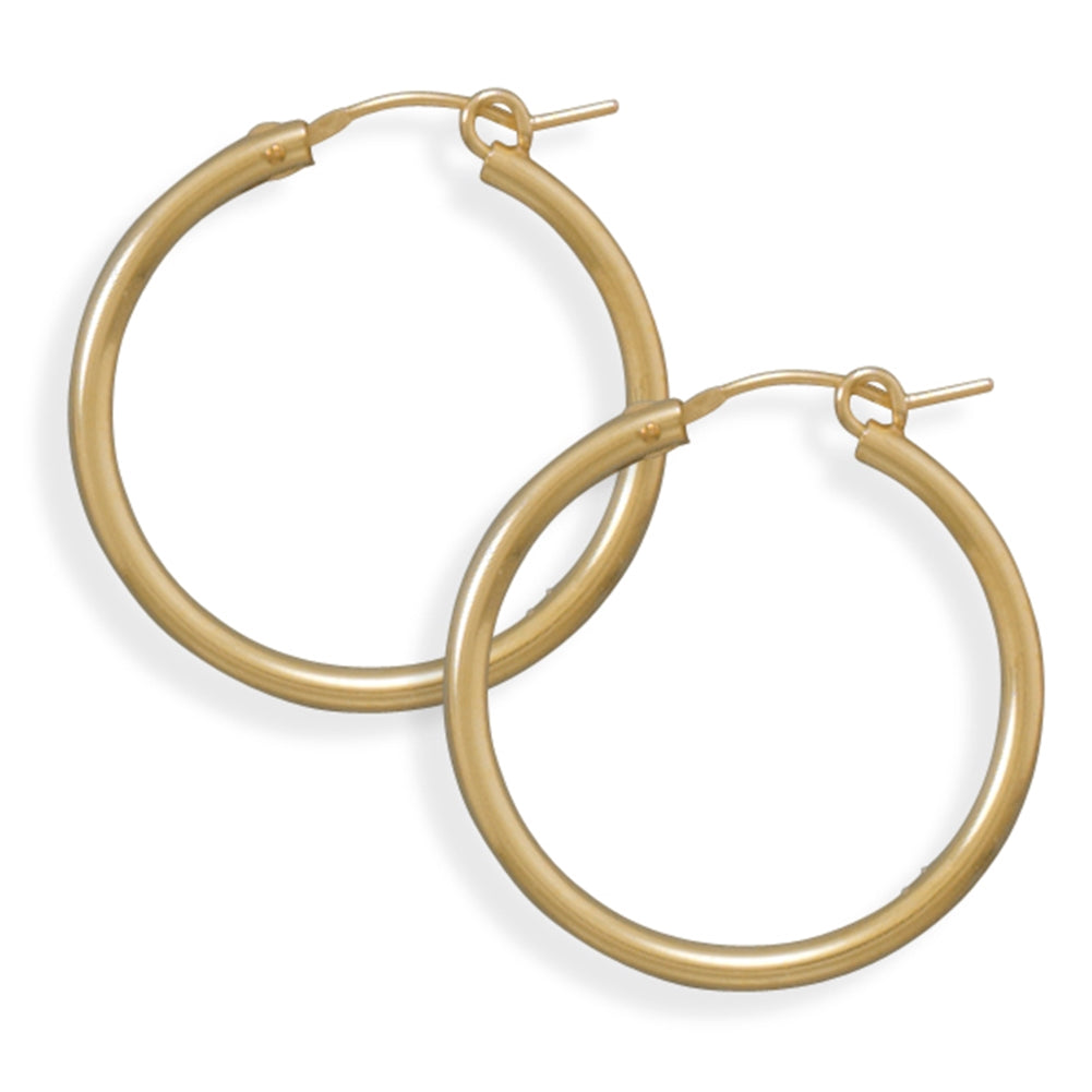 2x27mm Hoops Hoop Earrings 12k Yellow Gold-filled Click Close, Made in the USA