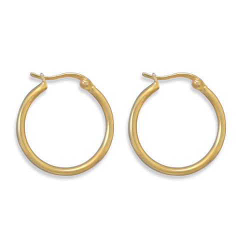 Hoop Earrings Gold-plated Sterling Silver 1.5mm x 20mm