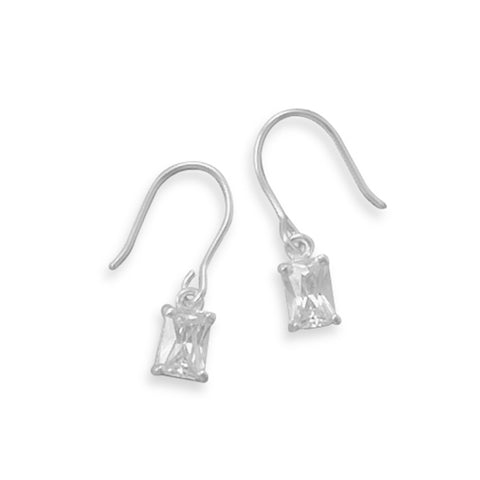 Small Rectangle Cut Cubic Zirconia Dangle Earrings Childrens Sterling Silver