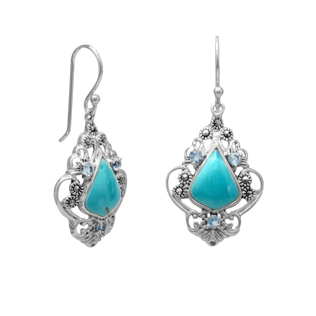 Sterling Silver Marcasite Blue Topaz and Reconstituted Turquoise Drop Earrings