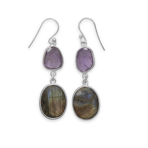 Amethyst and Labradorite Earrings Long Dangle Sterling Silver Freeform Shapes