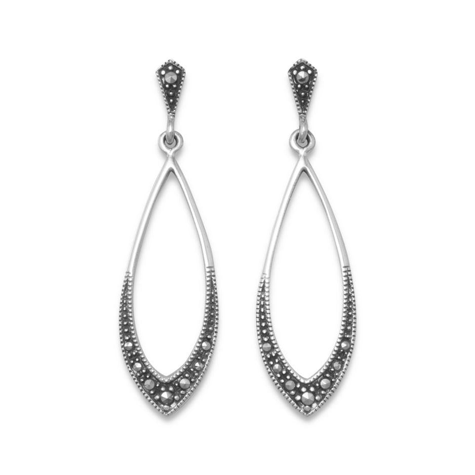 Long Teardrop Vintage Antique Drop Earrings with Marcasite Sterling Silver Post