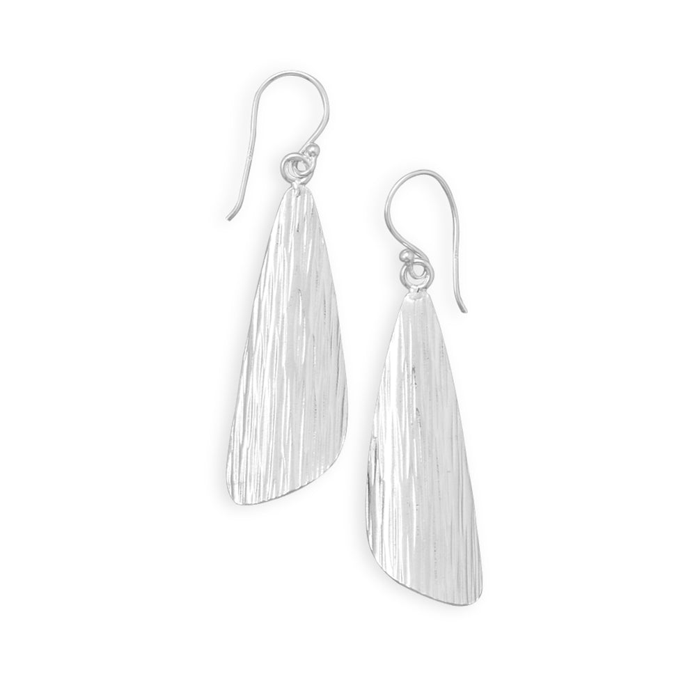 Soft Triangle Drop Earrings with Lined Texture Sterling Silver