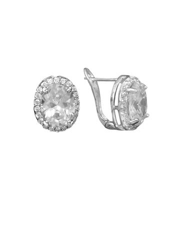Oval Cubic Zirconia Pave Frame Post Clip Earrings Rhodium on Sterling Silver