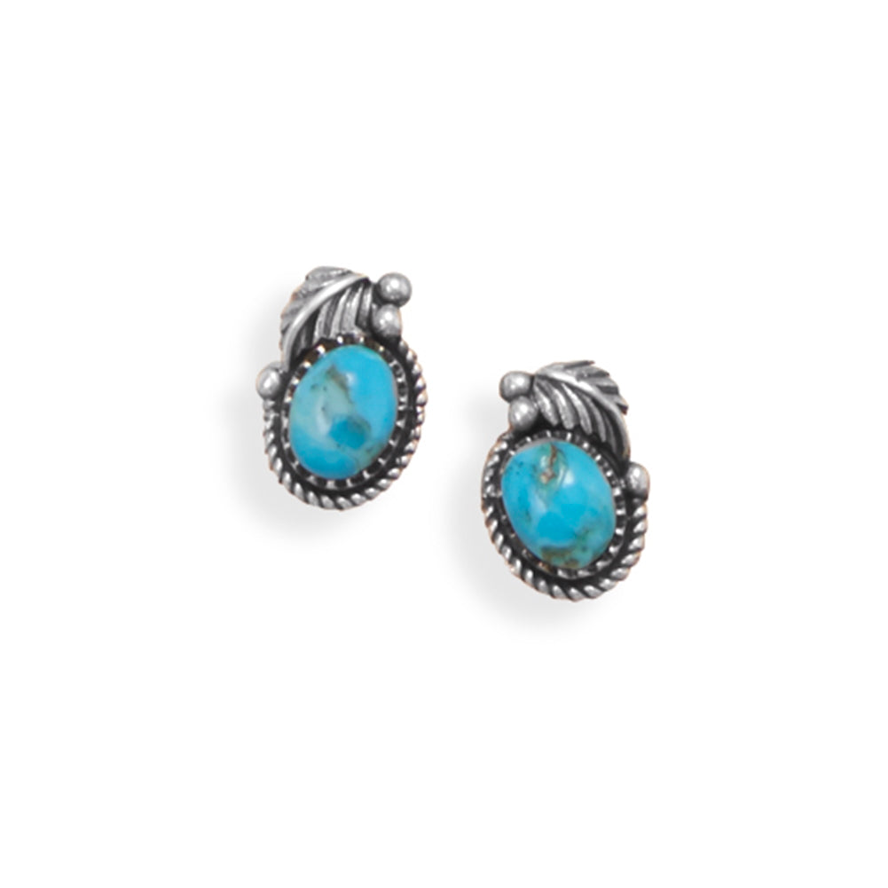 Reconstituted Turquoise Post Stud Earrings Oval with Leaf Design Sterling Silver