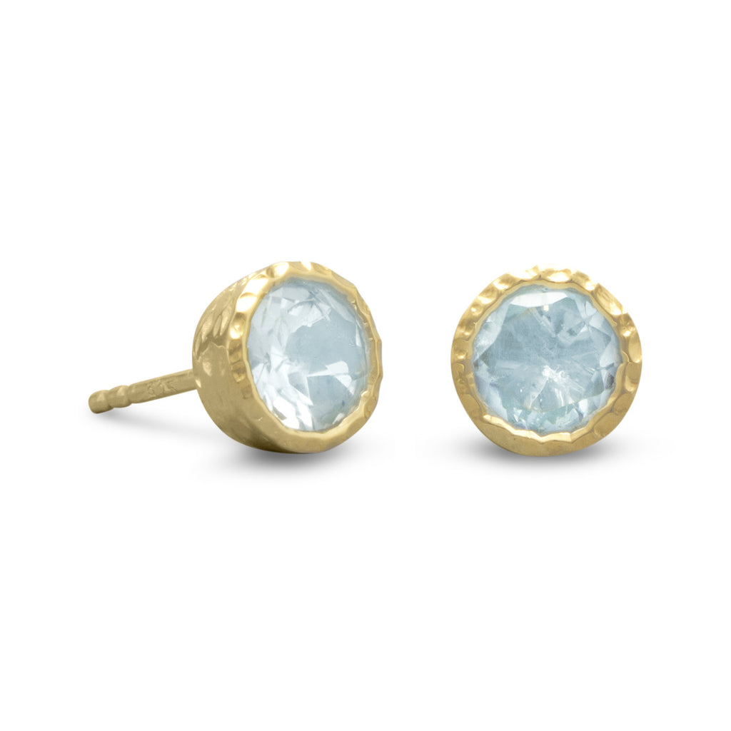 Blue Topaz Post Stud Earrings 12mm Gold-plated Sterling Silver