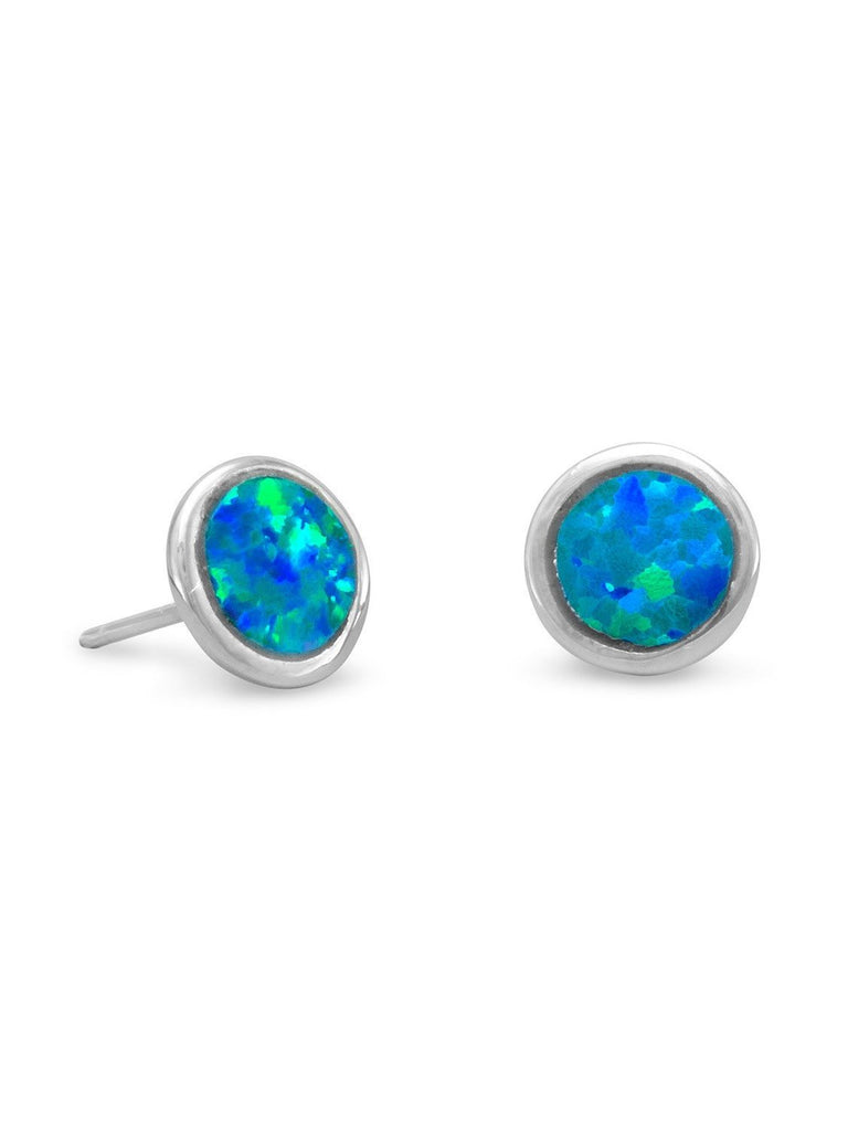 Synthetic 7mm Blue Opal Stud Earrings Rhodium on Sterling Silver - Nontarnish