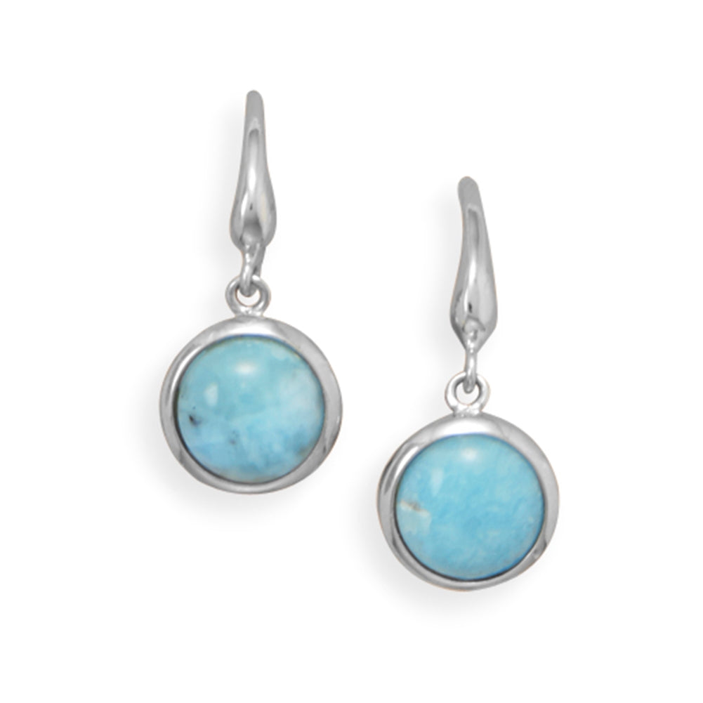 Atlantis Stone Larimar Earrings Rhodium-plated Sterling Silver Round Shape - Nontarnish