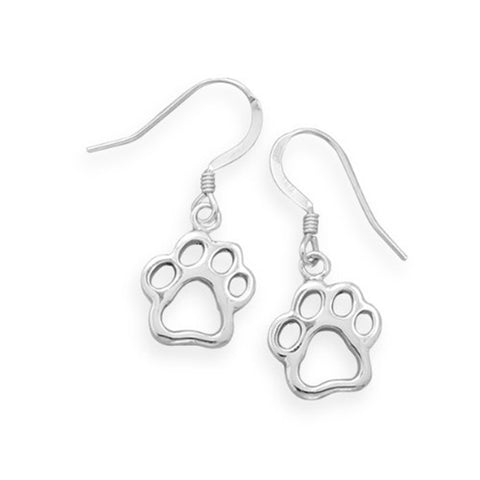 Animal Paw Print Earrings Cut Out Design Cat Dog Sterling Silver
