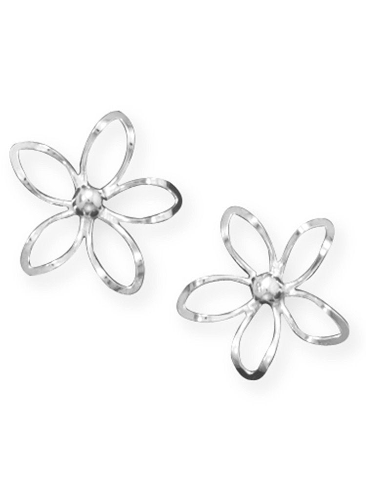 Daisy Flower Post Stud Earrings Diamond-cut Sterling Silver