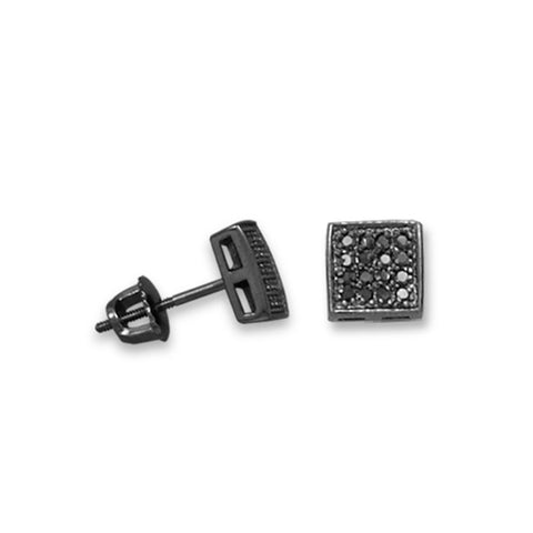 Micro Pave Black Cubic Zirconia Stud Earrings with Black Rhodium over Sterling Silver