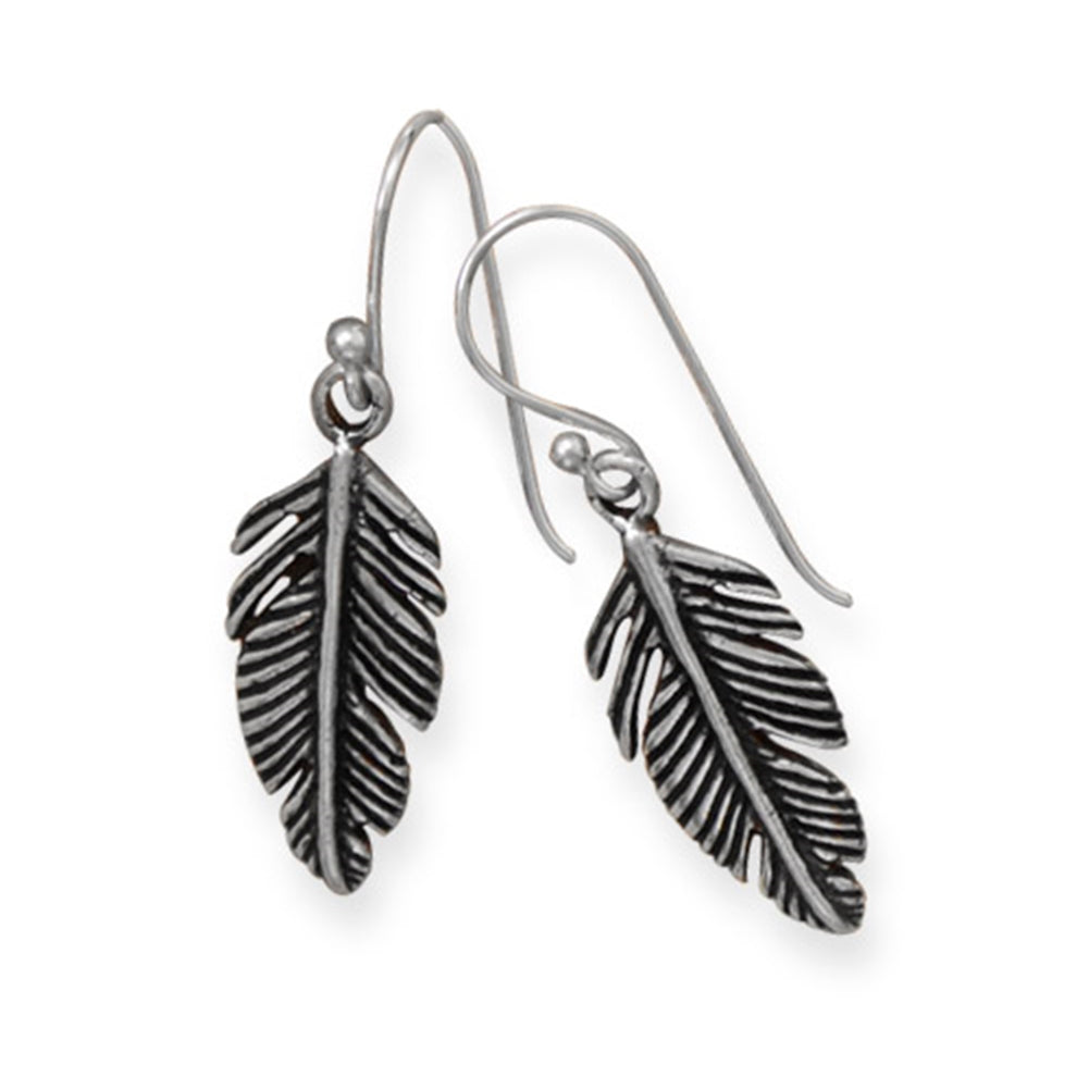 Pinna Feather Design Earrings Antiqued Sterling Silver